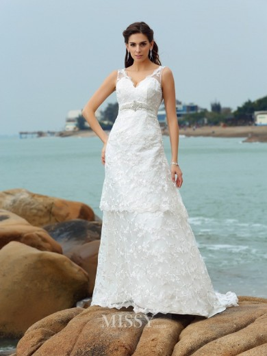 A-Line/Princess Sleeveless Straps Satin Chapel Train Applique Wedding Dress