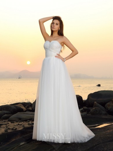 A-Line/Princess Sleeveless Sweep/Brush Train Sweetheart Net Wedding Dresses