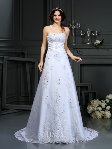 A-Line/Princess Strapless Sleeveless Applique Satin Court Train Wedding Dresses