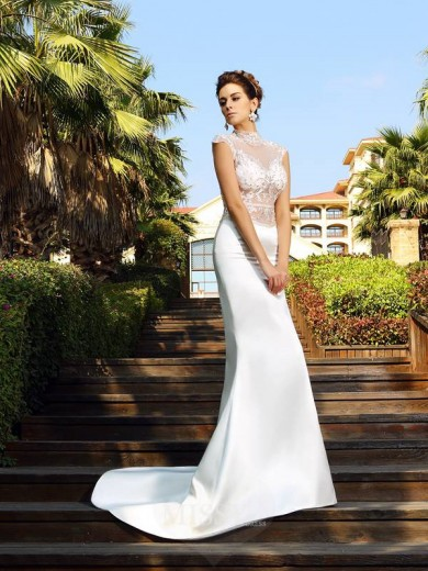Trumpet/Mermaid High Neck Beading Sleeveless Court Train Satin Dresses