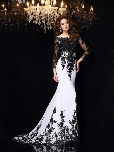 Sheath/Column Long Sleeves Scoop Lace Chiffon Court Train Dresses