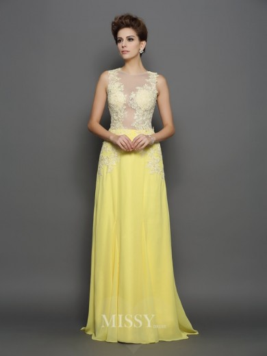 A-Line/Princess Sleeveless Scoop Lace Chiffon Sweep/Brush Train Dresses