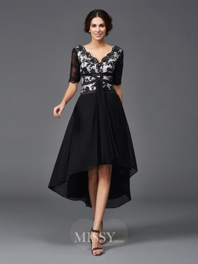 A-Line/Princess 1/2 Sleeves V-neck Lace Asymmetrical Chiffon Dresses
