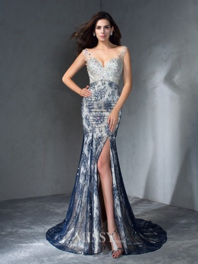 Trumpet/Mermaid Sleeveless V-neck Beading Sweep/Brush Train Lace Dresses