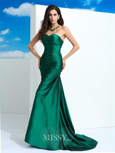 Sheath/Column Sleeveless Sweetheart Pleats Sweep/Brush Train Taffeta Dresses