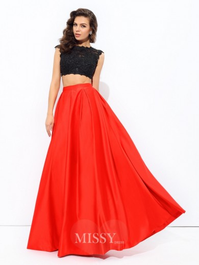 A-Line/Princess Sleeveless Scoop Lace Floor-Length Satin Dresses
