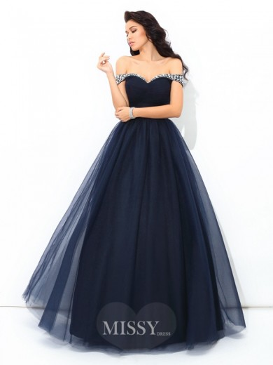 Ball Gown Off-the-Shoulder Sleeveless Beading Floor-Length Net Quinceanera Dress