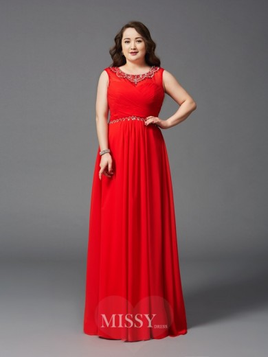 A-Line/Princess Sleeveless Scoop Beading Floor-Length Chiffon Plus Size Dresses