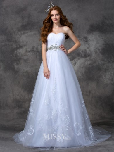A-line/Princess Sleeveless Sweetheart Beading Sweep/Brush Train Satin Wedding Dress