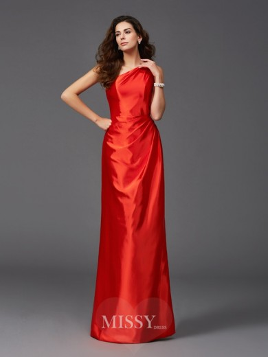 Sheath/Column Sleeveless One-Shoulder Elastic Woven Satin Floor-Length Bridesmaid Dresses