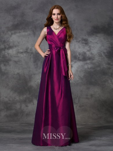 A-line/Princess V-neck Sash/Ribbon/Belt Sleeveless Floor-length Taffeta Bridesmaid Dresses