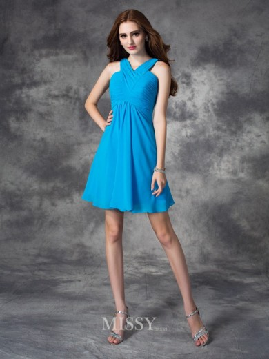A-line/Princess Sleeveless V-neck Ruffles Mini Silk like Satin Dress