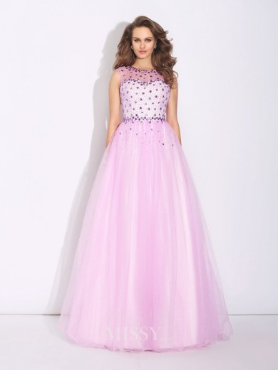 A-Line/Princess Jewel Rhinestone Sleeveless Floor-Length Net Dress