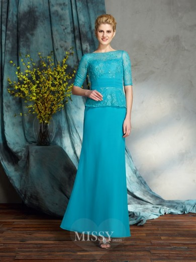 Sheath/Column Bateau 1/2 Sleeves Chiffon Floor-Length Mother of the Bride Dress