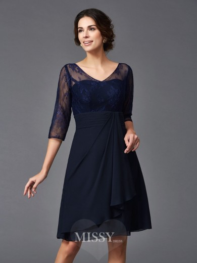 A-Line/Princess 1/2 Sleeves V-neck Lace Knee-Length Chiffon Mother of the Bride Dresses