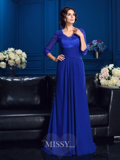 A-Line/Princess 3/4 Sleeves V-neck Sweep/Brush Train Chiffon Mother Of The Bride Dresses