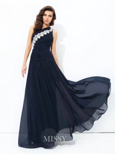A-Line/Princess Sleeveless One-Shoulder Applique Chiffon Floor-Length Dresses