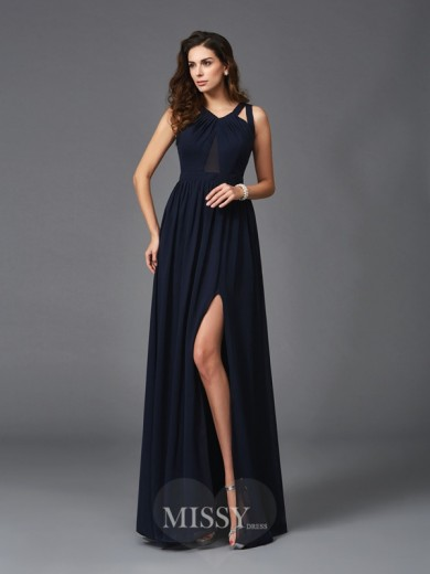 A-Line/Princess Sleeveless Straps Chiffon Floor-Length Dresses
