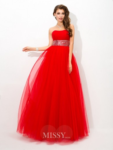 Ball Gown Strapless Sleeveless Beading Floor-Length Net Dresses