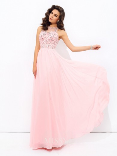 A-Line/Princess Sleeveless Beading Jewel Chiffon Floor-Length Dresses