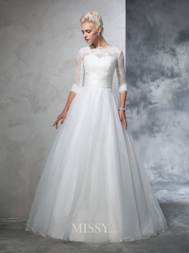 Ball Gown 3/4 Sleeves Jewel Organza Floor-Length Applique Wedding Dresses