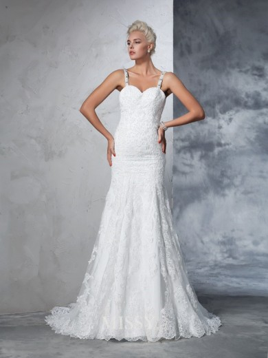 Trumpet/Mermaid Spaghetti Sleeveless Straps Lace Chapel Train Wedding Dresses