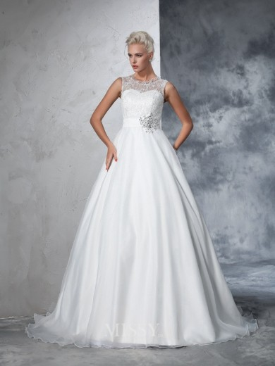 Ball Gown Sleeveless Sheer Neck Net Lace Chapel Train Wedding Gown