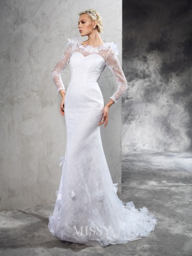 Sheath/Column Sheer Neck Long Sleeves Hand-Made Flower Court Train Satin Wedding Dresses