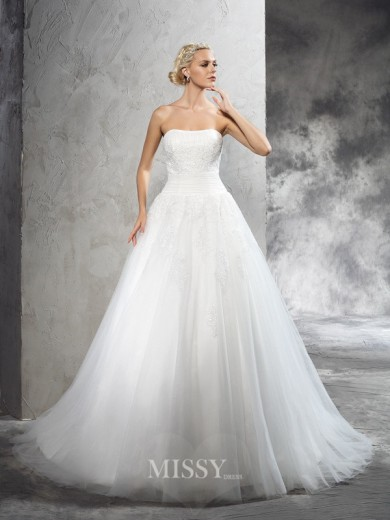 Ball Gown Strapless Sleeveless Applique Court Train Satin Wedding Dresses