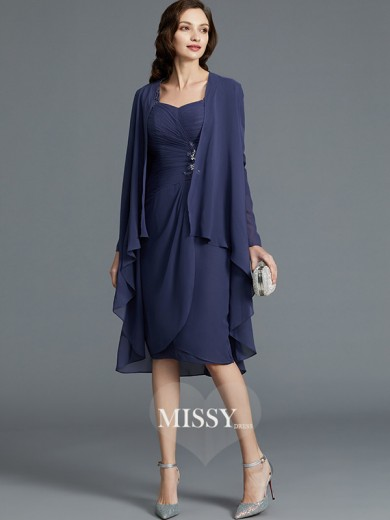 Sheath/Column Sweetheart Chiffon 1/2 Sleeves Knee-Length Mother of the Bride Dresses