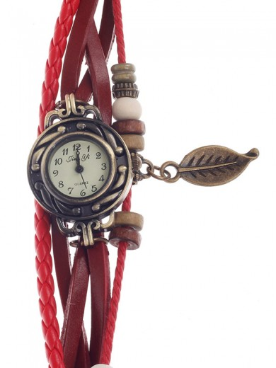 Tingyi Stylish Retro Women's Quartz Wristwatch with PU Leather Ropes Watchband - Red+Bronze+White