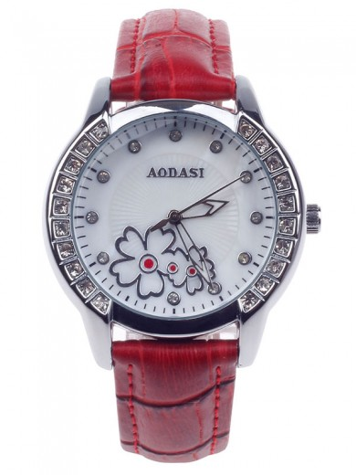 AODASI 4299L Fashionable Women's Quartz Wristwatch with Rhinestone Decoration - Red+Silver