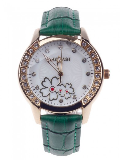 AODASI 4299L Fashionable Women's Quartz Wristwatch with Rhinestone Decoration - Green+Golden