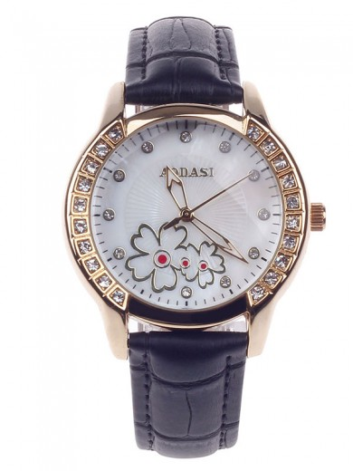 AODASI 4299L Fashionable Women's Quartz Wristwatch with Rhinestone Decoration - Black+Golden