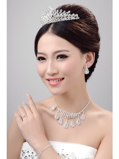 Awesome Alloy Clear Crystals Wedding Headpieces Necklaces Earrings Set