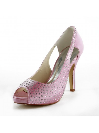 Beautiful Satin Stiletto Heel Peep Toe With Rhinestone Wedding Shoes