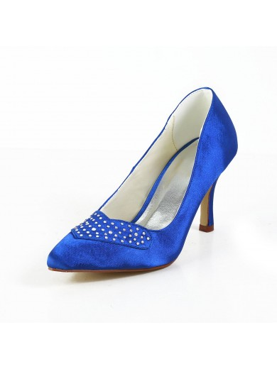 Charming Satin Stiletto Heel Closed Toe Shoes With Rhinestone