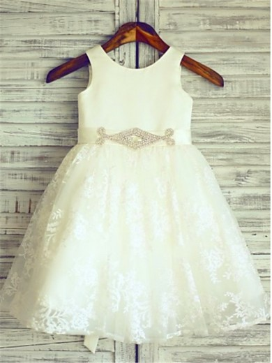 A-line/Princess Scoop Sash/Ribbon/Belt Sleeveless Knee-Length Lace Flower Girl Dresses