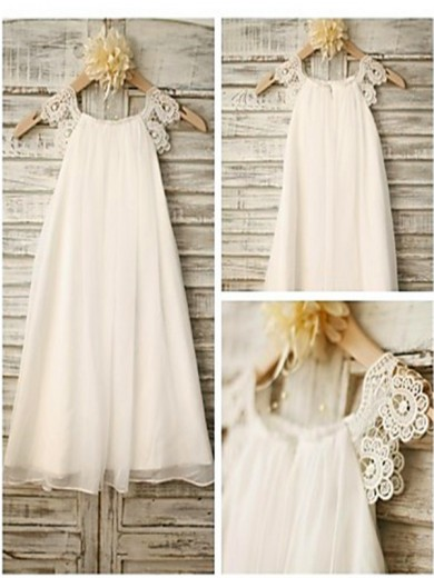 A-line/Princess Scoop Sleeveless Lace Tea-Length Chiffon Flower Girl Dresses