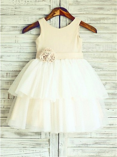 A-line/Princess Straps Sleeveless Hand-made Flower Tea-Length Tulle Flower Girl Dresses
