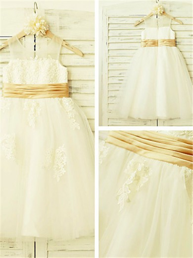 A-line/Princess Sleeveless Scoop Lace Tea-Length Tulle Flower Girl Dresses