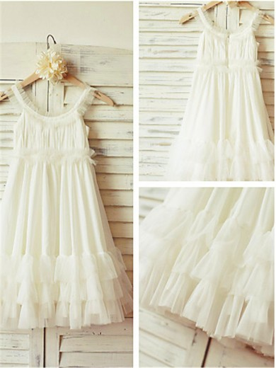 A-line/Princess Straps Sleeveless Ruffles Tea-Length Chiffon Flower Girl Dresses