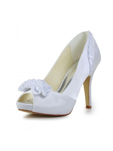 Fabulous Satin Stiletto Heel Pumps with Flower Wedding/Party/Evening Shoes