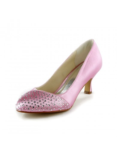 Fashion Satin Stiletto Heel Peep Toe With Rhinestone Wedding Shoes