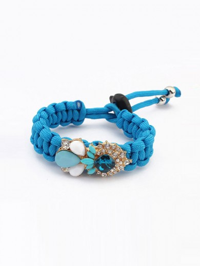 Occident Fashionable Woven Gemstone Bracelets