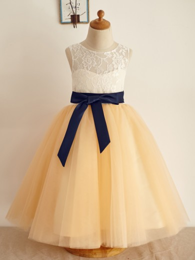 A-Line/Princess Tulle Bowknot Sleeveless Scoop Floor-Length Flower Girl Dresses