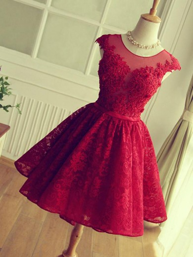 Short/Mini A-Line/Princess Jewel Sleeveless Lace Dresses