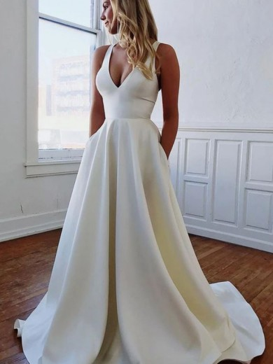 A-Line/Princess V-neck Satin Ruffles Sleeveless Sweep/Brush Train Wedding Dress