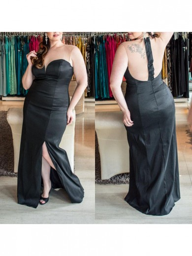 Sheath/Column Sweetheart Sleeveless Ruched Floor-Length Elastic Woven Satin Plus Size Dresses