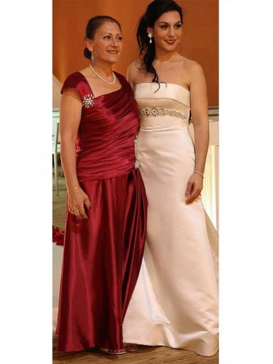 Sheath/Column Straps Sleeveless Beading Floor-Length Satin Mother Of The Bride Dresses